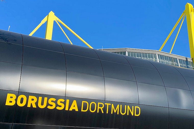 "The outside of the soccer stadium ""Signal Iduna Park""."