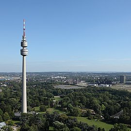 Panorama view of the Westfalenpark with TV-tower.