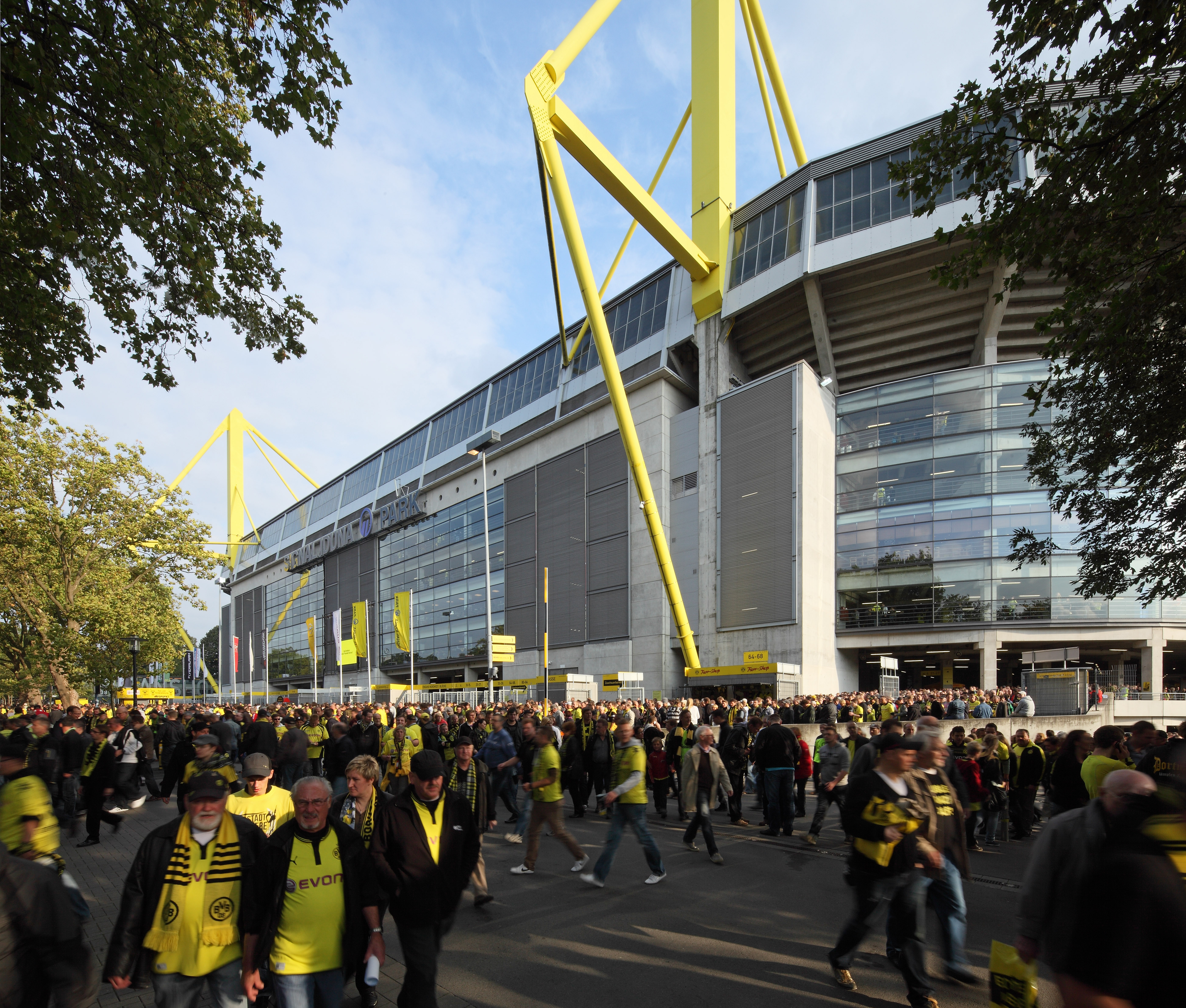 A big crowd in front of Signal Iduna Park on a matchday.