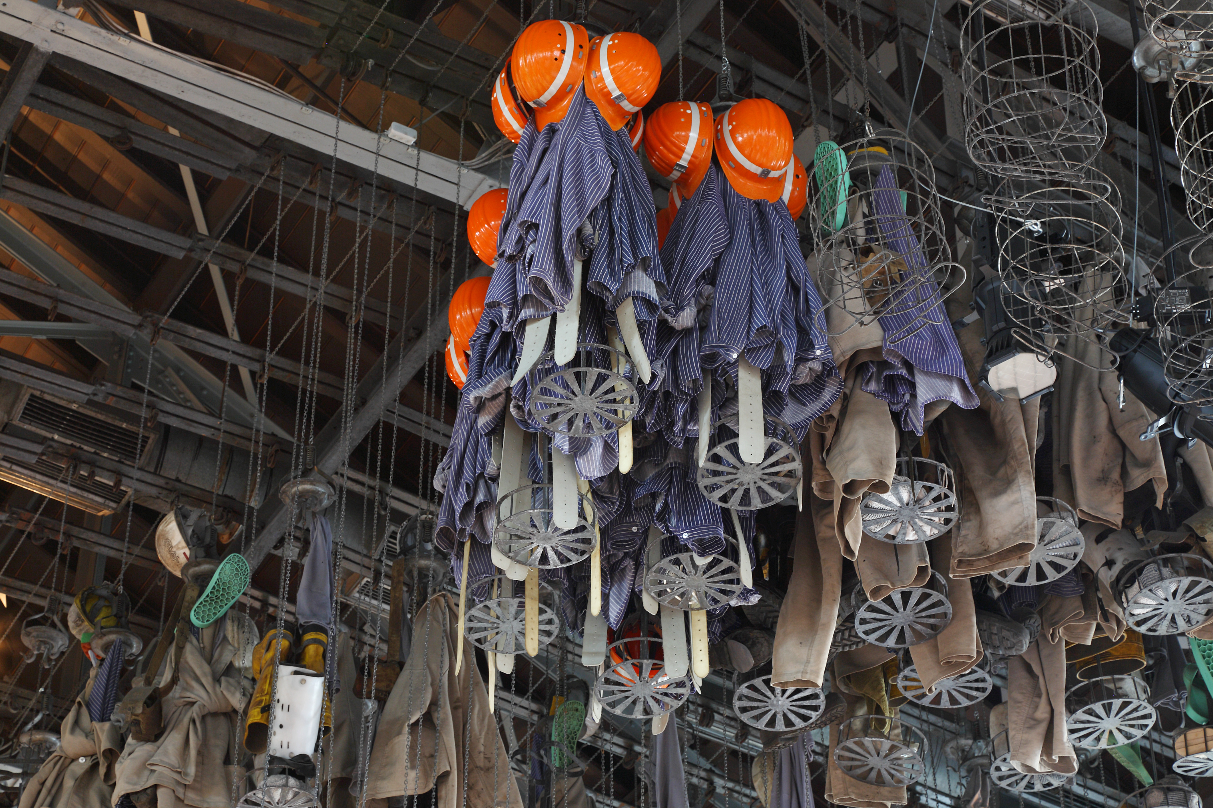 Miners equipment hanging from the ceiling of a room in Zollern Colliery.